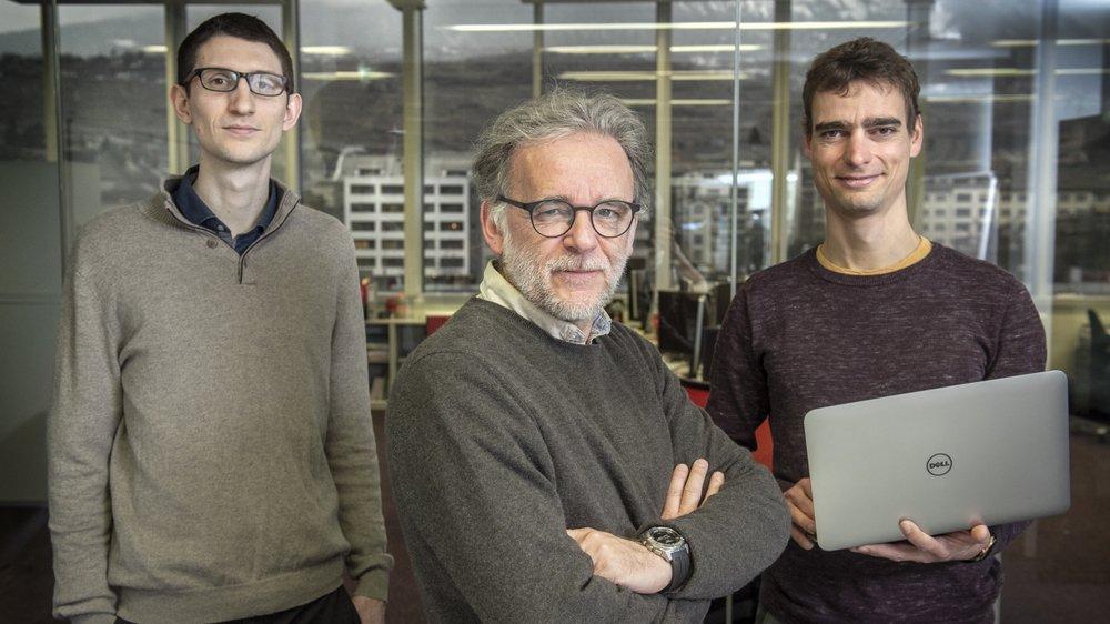 François Maréchal, professeur titulaire à l'EPFL Valais, et les chercheurs Sébastien Cajot, à gauche, et Nils Schüler, à droite, ont développé un algorithme pour anticiper des planifications urbaines inédites.