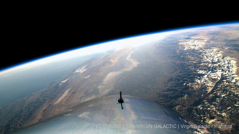La terre vue depuis le vaisseau-fusée de Virgin Galactic, baptisé SpaceShipTwo, lors d'une phase d'essai (archives).