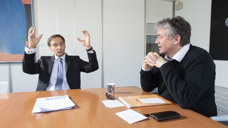 Le conseiller national Thomas Egger (PDC), à gauche, et le président des Verts valaisans, Jean-Pascal Fournier, croisent le fer.