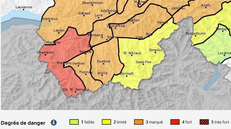 Danger d'avalanches: une partie du Valais passe en rouge