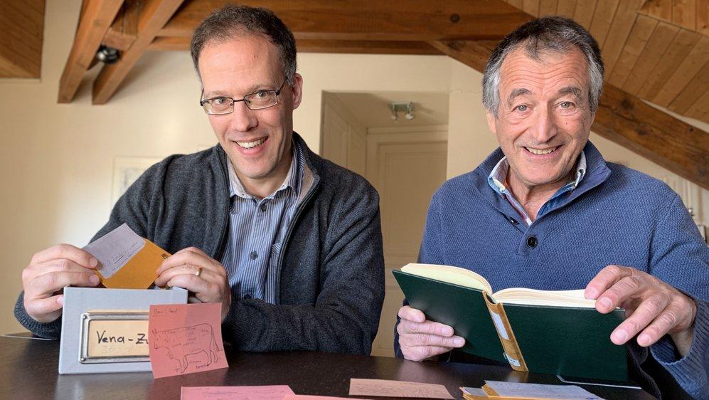 Le linguiste Raphaël Maître et le patoisant Jean-Pierre Deslarzes sont les coordinateurs du dictionnaire du patois de Bagnes.