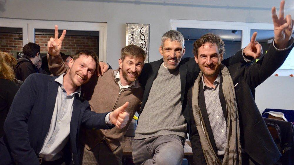 En 2016, Entremont Autrement fête l'entrée de quatre candidats au sein des exécutifs. De gauche à droite: Basile Darbellay à Liddes, Olivier Bender à Vollèges, Urbain Gaillard à Orsières et Antoine Cretton à Bagnes.