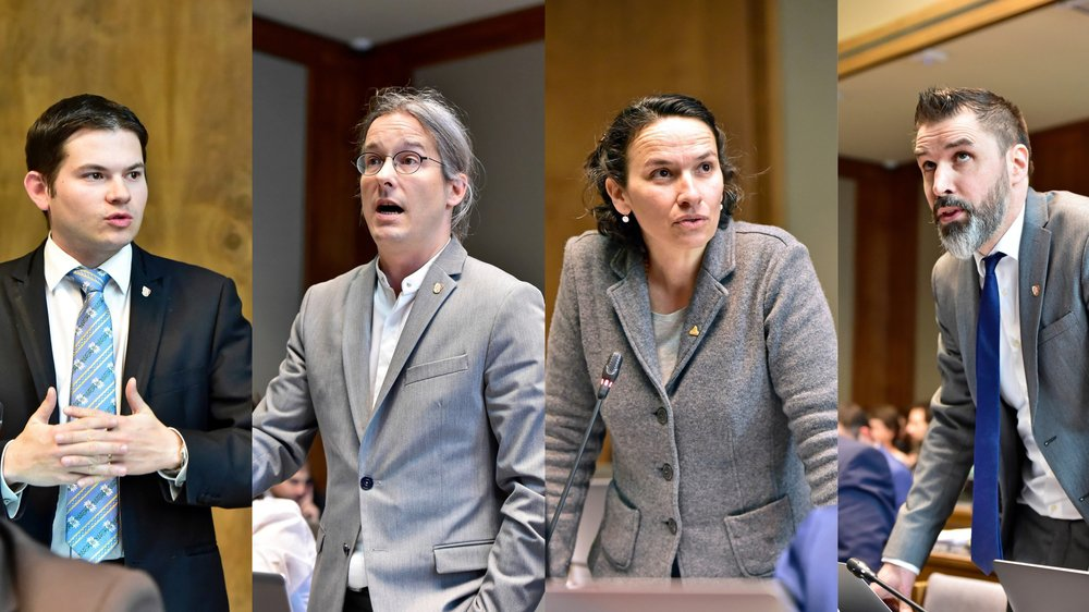 Gregory Logean (UDC), Emmanuel Amoos (AdG), Céline Dessimoz (Verts), David Crettenand (PLR) ont débattu du climat.
