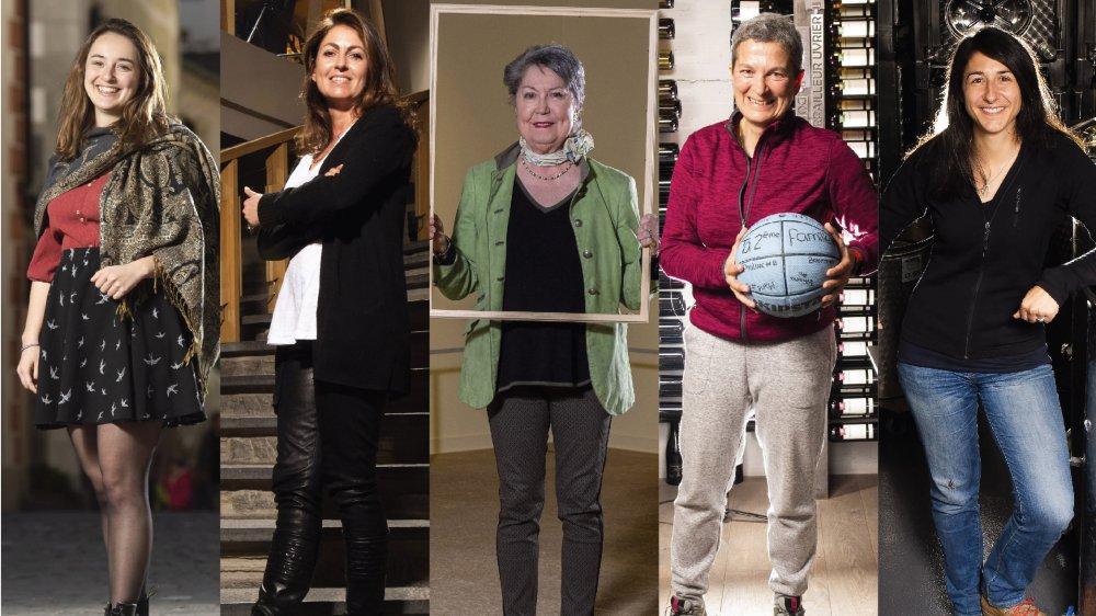 Caroline Reynard, Marie-Laure Burgener, Antoinette de Wolff, Maris Stella Gilliéron et Mathilde Roux: cinq Valaisannes qui font avancer le Valais à leur manière.
