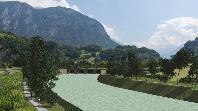 Valais-Vaud: le projet de barrage sur le Rhône à Massongex-Bex relancé
