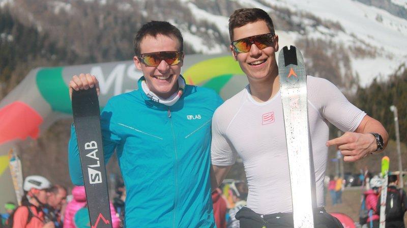 Pierre Mettan et Tobias Donnet savourent leur victoire lors de l'Ovronnalpski dimanche.