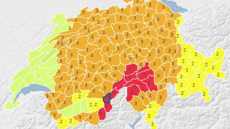 Une grande partie de la Suisse est placée en alerte de niveau 3 aux fortes chutes de neige.