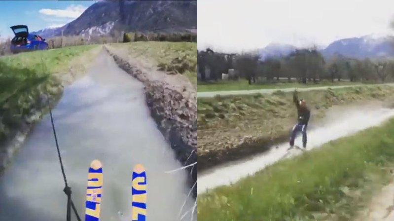 A 50 km/h sur des skis sur le canal de Bramois: la vidéo publiée par Yohann Obrist sur Instagram fait le buzz.