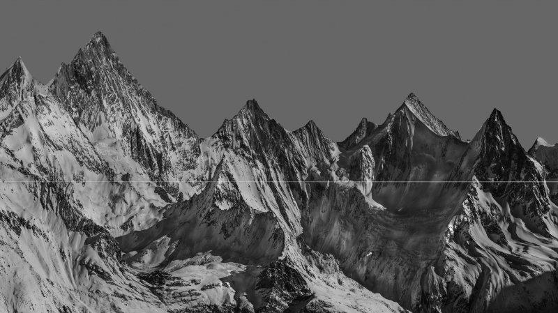 """""""Peaks"""", l'un des clichés retravaillé du Chinois Wenhuan Shao, visible à La Fabrik de Monthey."""