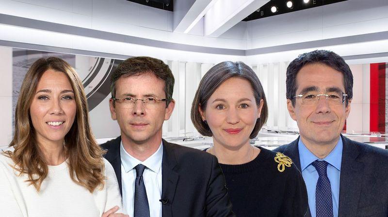 Philippe Revaz (2ème depuis la gauche) présentera le 19h30 du lundi au jeudi en alternance avec Claire Burgy (3ème depuis la gauche).
