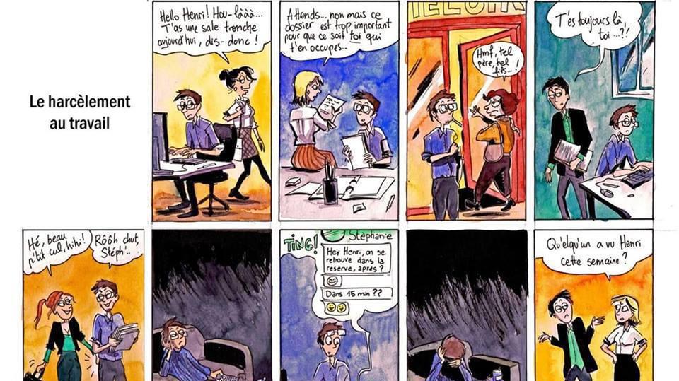 La bande dessinée veut briser les stéréotypes habituels sur le harcèlement au travail.