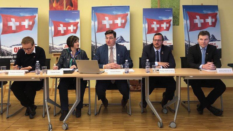 Philippe Nantermod, Carole Furrer, Vincent Riesen, Philipp Matthias Bregy et Jérôme Monnat ont défendu la réforme fiscale et de l'AVS.