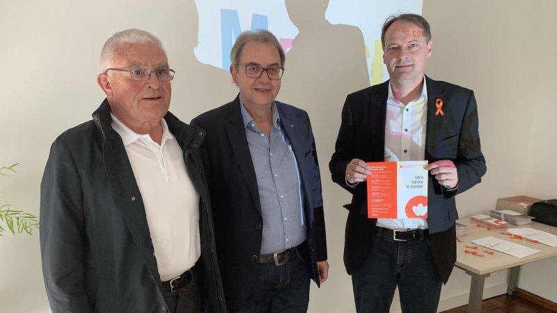 Raymond Jacquemoud, bénévole, Reinhard Zenhäusern, président et Franck Moos, directeur: la Ligue valaisanne contre le cancer cherche des dons.
