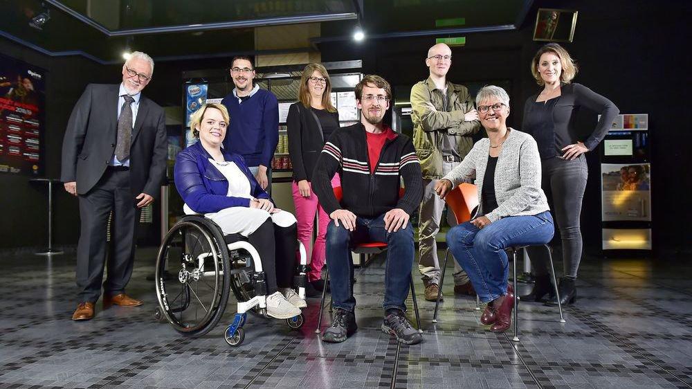 Les candidats du Centre-gauche PCS: de gauche à droite, devant: Maud Theler, Alexandre Loretan et Madeline Heiniger. Derrière: Robert Burri, Pierre Troillet, Emilie Dupuis, Antoine Conforti et Aferdita Bogiqi.