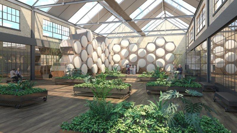 """Une vue d'artiste de la forme que pourrait prendre un lieu dédié au """"compost humain""""."""
