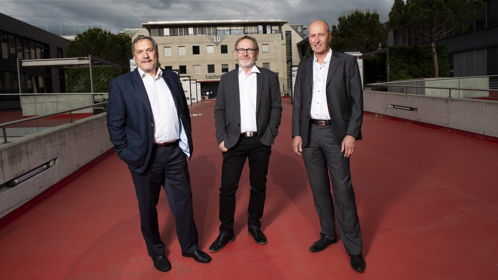 Claude-Michel Salamin (à gauche), Marc-André Berclaz et Laurent Salamin ont créé le Techno-Pôle de Sierre en 1989. Avec l'objectif de donner à la région un nouvel axe de développement économique.