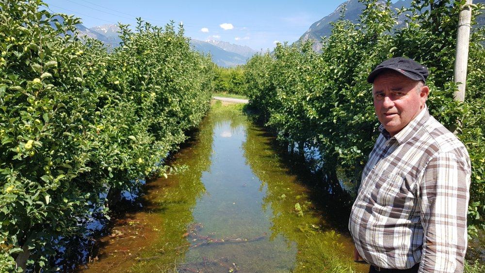Albert Pitteloud craint que l'inondation de six hectares de vergers débouche sur des pertes de récolte de plusieurs dizaines de milliers de francs.