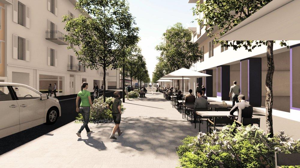 Comme on le voit sur cette vue de synthèse, avec les terrasses au niveau du cinéma Casino, la priorité sera donnée aux piétons et la végétalisation de l'avenue sera renforcée.