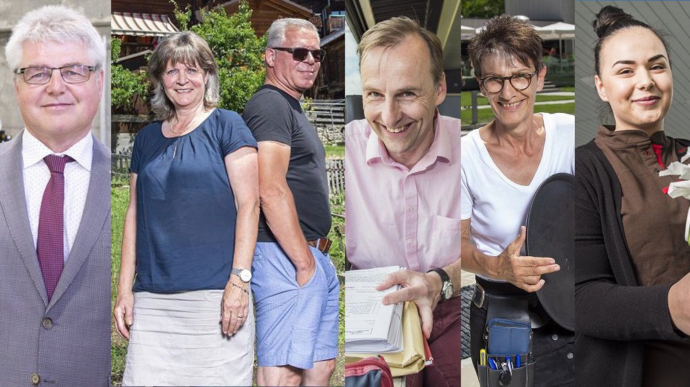 Dany Antille, Hélène et Bruno Inderkummen, Roland Carrupt, Madeleine Jomini et Delfina Haljimi sont domiciliés dans le Valais romand et travaillent dans le Haut.