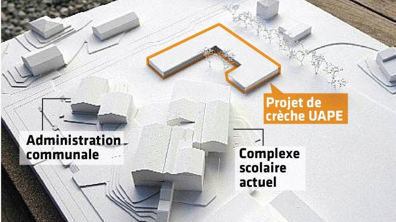 La future crèche-UAPE-nurserie de Charrat sera construite à proximité immédiate du centre scolaire.