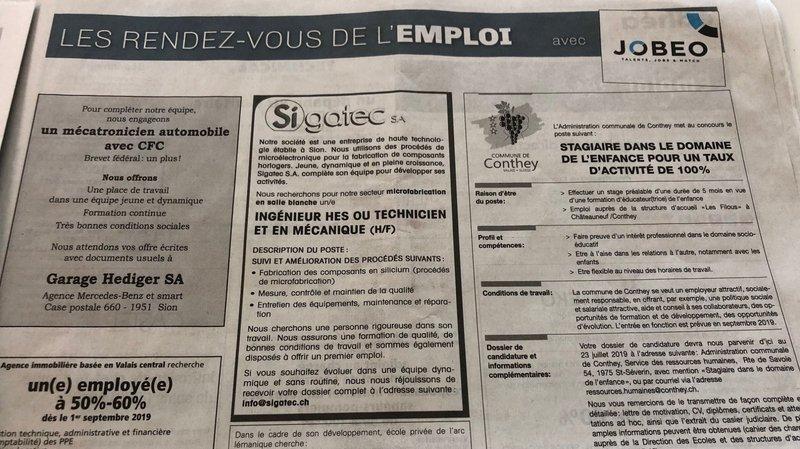 L'emploi se porte bien en Valais.