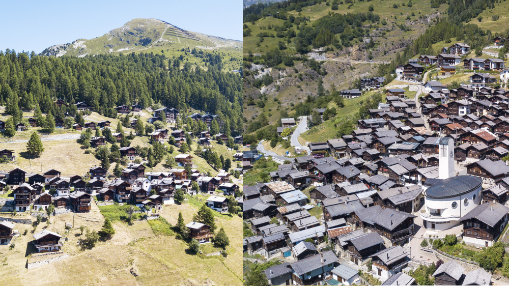 Des deux villages escarpés, Chandolin est moins densifié qu'Albinen.