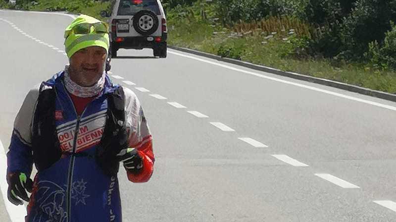 David Fournier lors de sa descentes vers Brigue.