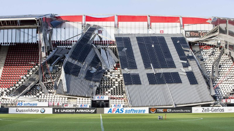 Pays-Bas: des vents violents provoquent l'effondrement du toit d'un stade
