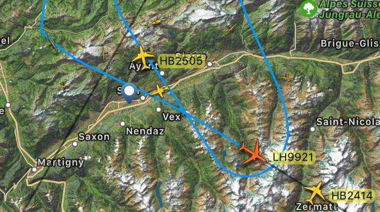 L'application montre les détails de la mission d'interception réalisée au-dessus du Valais.