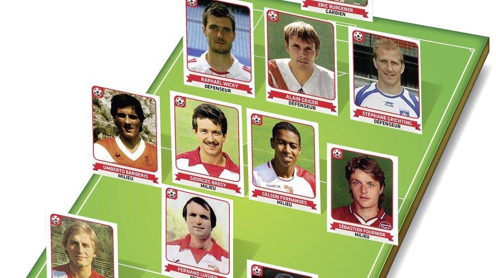 """L'équipe-type de la sélection """"13 étoiles"""" choisie par les nominés au titre de footballeur valaisan du siècle."""