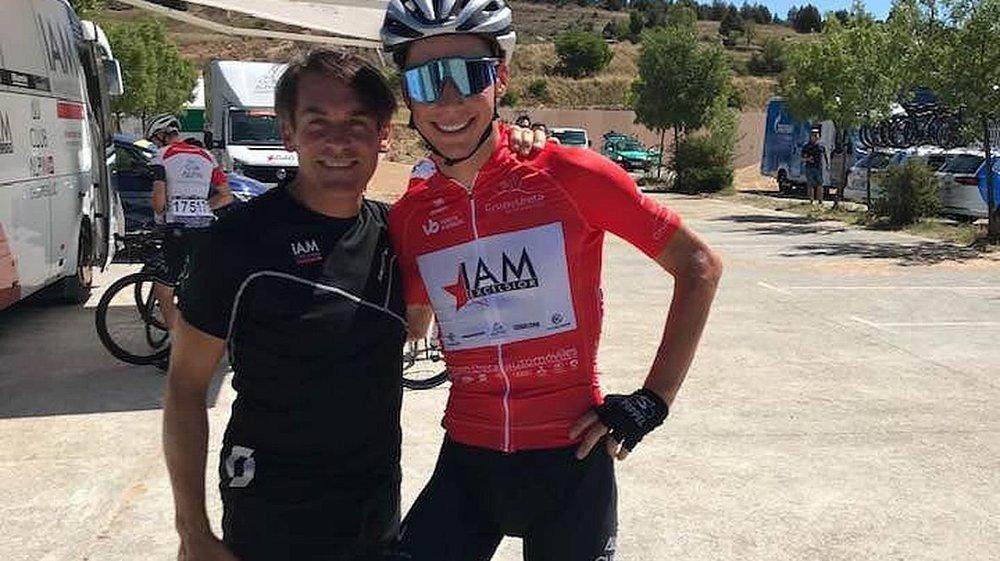 Simon Pellaud portait le maillot du meilleur grimpeur, samedi. Virtuellement. Il n'a pas pu le garder.
