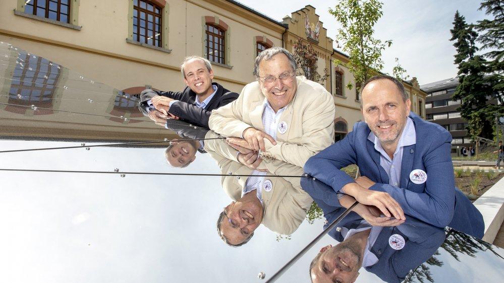Alain Dubois, archiviste cantonal, Jacques Cordonier, chef de la culture du canton du Valais, et Damian Elsig, directeur de la Médiathèque Valais, sont fiers de leur nouvel écrin de travail.