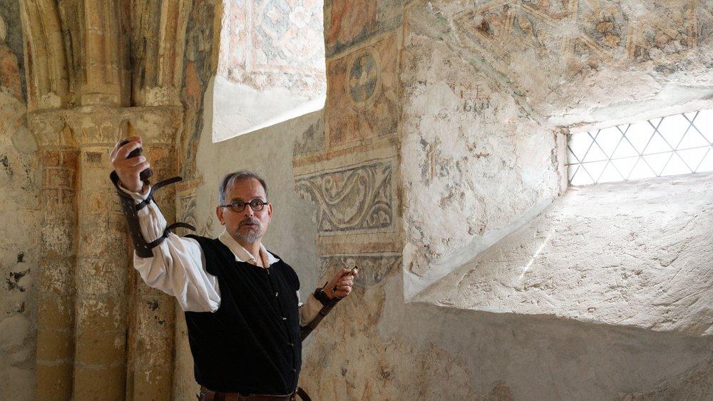 Cedric Jossen, responsable du château de Tourbillon, retrace l'histoire de cette peinture murale qui date du 14e siècle.