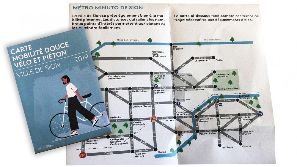 La carte de mobilité se compose d'un plan pour les piétons et de plusieurs itinéraires pour les cyclistes.