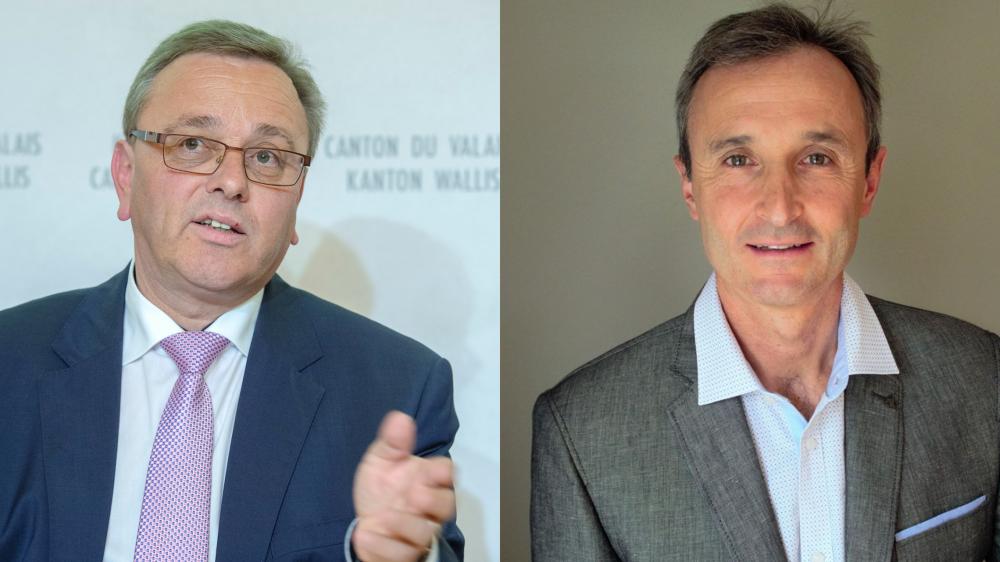 Relevant du droit du travail, le conflit oppose Joël Rossier (à droite) au président du Conseil d'Etat, Roberto Schmidt, et non au ministre de l'environnement, Jacques Melly.