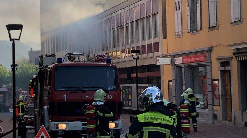 77 pompiers sont intervenus dans cet exercice près de la place centrale de Martigny.