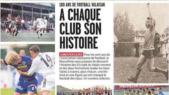 Football: un numéro spécial pour les 100 ans de l'Association valaisanne de football