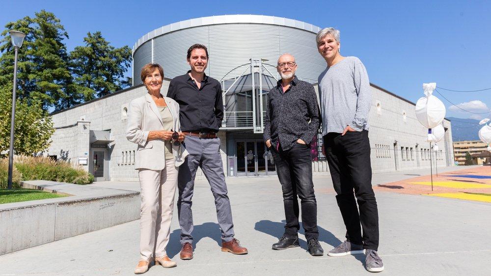 Christiane Vincent, Mathieu Menghini, Denis Alber et Lorenzo Malaguerra ont eu plaisir à se retrouver pour évoquer le Crochetan.