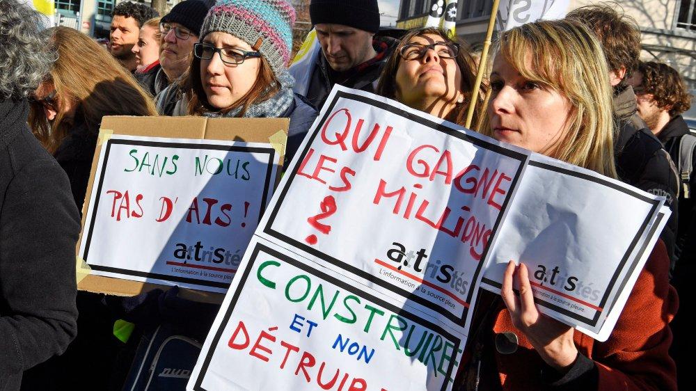 Le personnel de Keystone-ATS avait fait grève et manifesté l'an dernier.