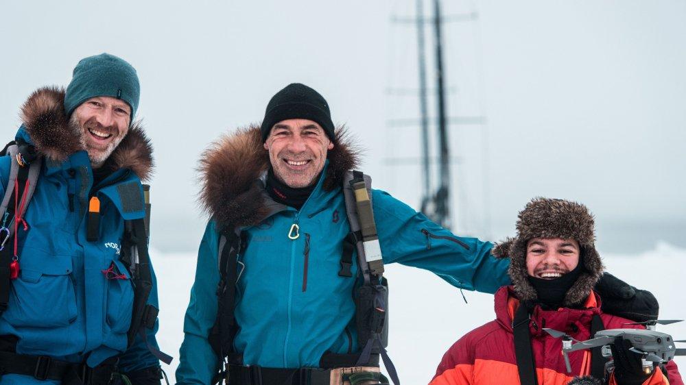 Etienne Claret (à droite) a accompagné Mike Horn et son ami Borge Ousland au pôle Nord.