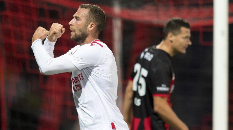 Pajtim Kasami exulte après avoir inscrit le deuxième but du FC Sion contre Neuchâtel Xamax.