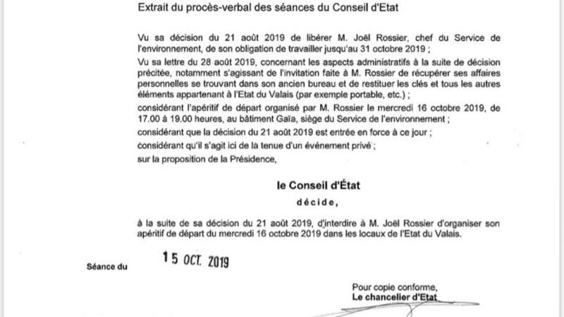 Pas d'apéro de départ à l'Etat pour Joël Rossier