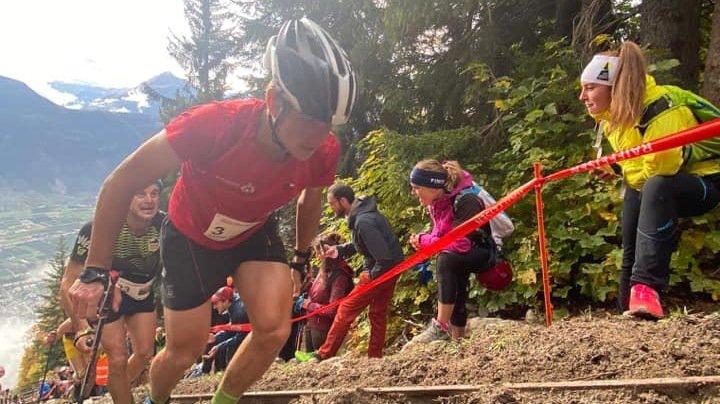 Aurélien Gay en pleine action sur le Kilomètre vertical de Fully.