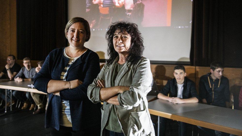 Nicole Fumeaux (à droite) a lancé cette démarche participative en collaboration avec 150 citoyens ainsi que la vice-présidente de la commune, Geneviève Pralong (à gauche).
