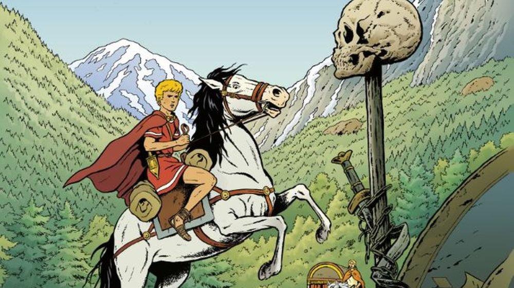 Alix à cheval parmi les vestiges de la bataille d'Octodure, sur la terre où naîtra plus tard la ville de Martigny.