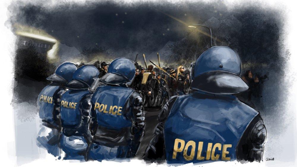 Le dispositif policier canalise les supporters d'YB à la sortie du stade.