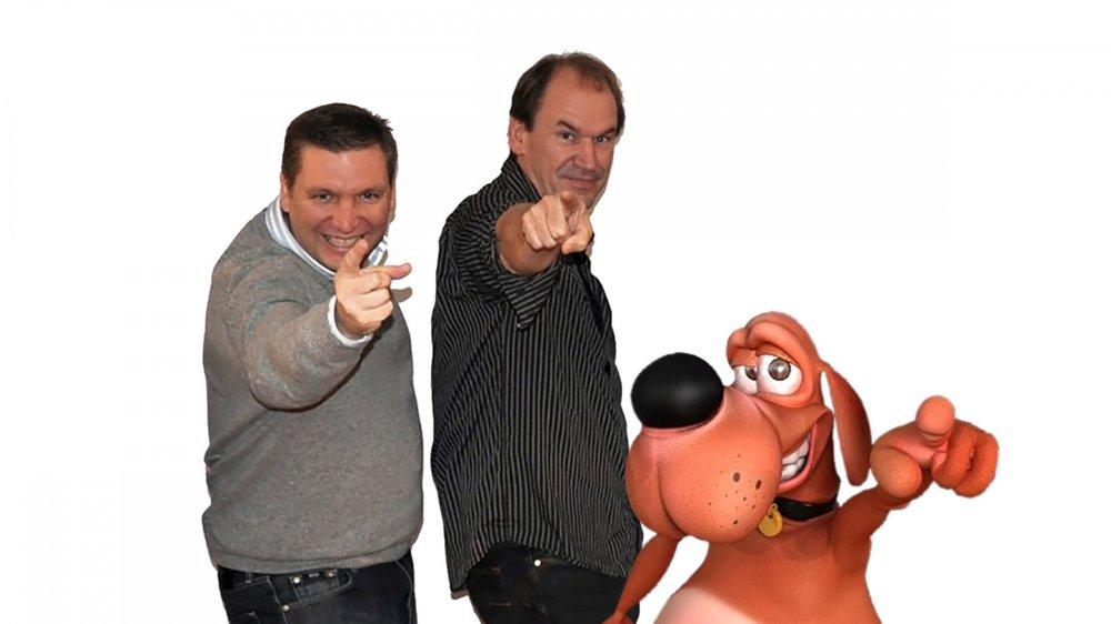 Philippe Sen (à gauche), le dessinateur de Luchien, accompagné de son scénariste Bruno Taloche et de leur personnage.