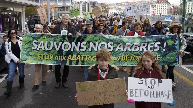 Manifestation à Genève pour stopper les abattages d'arbres