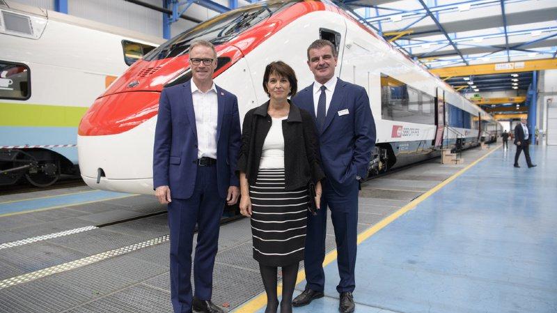 Doris Leuthard ici avec le patron des CFF Andreas Meyer et celui de Stadler Peter Spuhler. C'était en mai 2017.