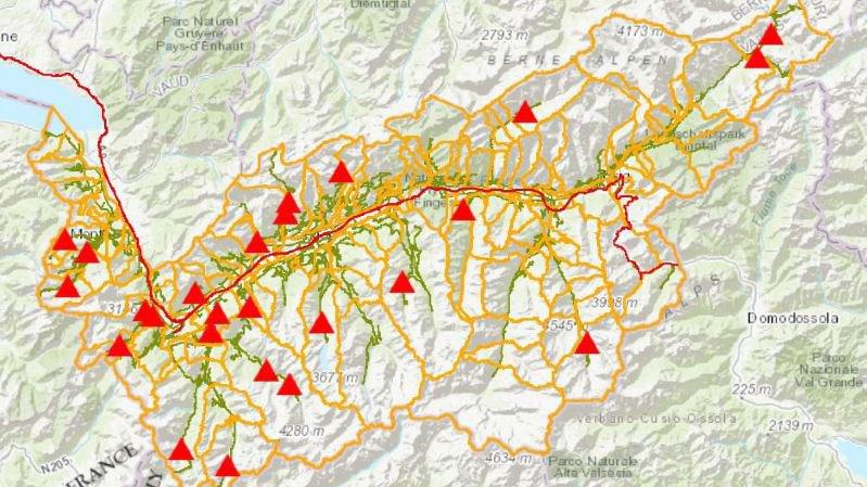 Valais: toutes les routes fermées sur une carte